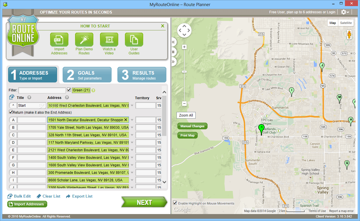 MyRoute screenshot